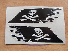 """Jolly Roger / Pirate Flag """"ripped"""" style stickers - 300mm decals x2 LARGE"""