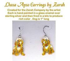 Enameled Sterling LHASA APSO Dog Earrings ZARAH