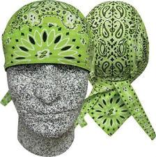 Lime Green Paisley Durag Headwrap Skull Cap Sweatband Capsmith Biker CDL412