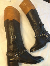 New Sam Edelman 'Park' Boot Leather Equestrian belted spiked Riding Boot 7.5