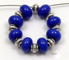 ROA Lampwork 8 Lapis Blue 5x8 mm Handmade USA Spacer Art Glass Beads SRA