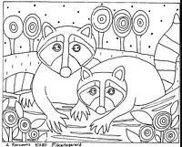 2 Raccoons RUG HOOKING CRAFT PAPER PATTERN Folk Art Abstract Karla Gerard