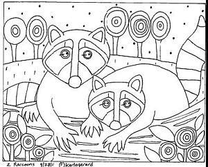 2 Raccoons RUG HOOKING CRAFT PAPER PATTERN Folk Art Abstract Karla Gerard