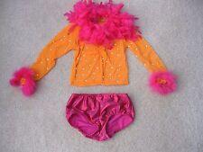 Custom Made PYT Orange Pink Dance Competition Costume Child Small Medium 7-8