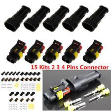 15 Kits 2 3 4 Pins Way Car Sealed Waterproof IP68 Electrical Wire Connector Plug