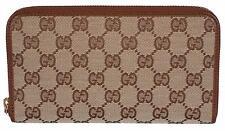 New Gucci 363423 Women's Beige Brown GG Guccissima Zip Around Wallet Clutch