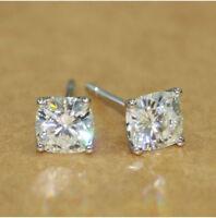 1Ctw Cushion-Cut Sparkle Moissanite Stud Earrings 14k White Gold  Over Silver