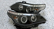 black finish headlights with angel eyes daytime LED DRL for BMW E60 E61 03-07