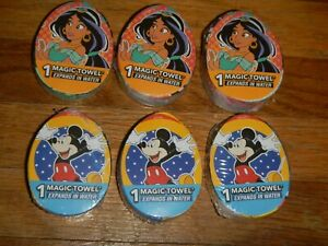 New LOT 6 MAGIC TOWELS Aladdin Jasmine Mickey Mouse Expands in water Washcloth