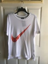 Nwt Womens Nike Short Sleeve shirt white orange size Large