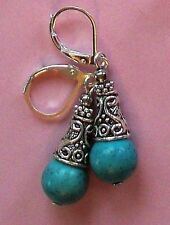 blue Turquoise Bali Cone Style earring Sp Leverback artisan