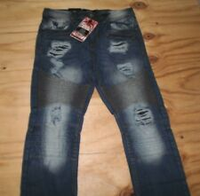 NEW MEN'S URBAN DASH DENIM MEN'S DISTRESSED BIKER BLUE DENIM  JEANS 32  X 32