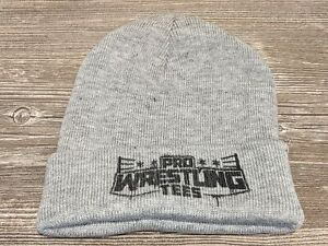 *NEW* PRO WRESTLING TEES Light Gray Winter Knit Hat/Beanie One Size Fits All