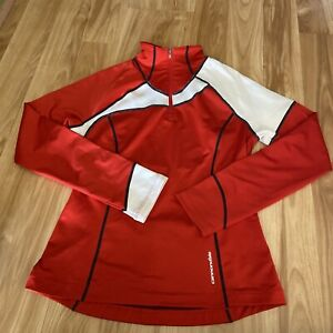 CANNONDALE Bike Cycle Long Sleeve Half Zip Pullover Shirt Womens Medium Red