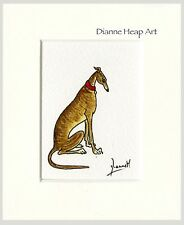 ACEO MINIATURE ORIGINAL PAINTING GREYHOUND WHIPPET LURCHER DOG 7194 DIANNE HEAP