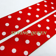 "7/8"" Cute White Polka Dot Red Grosgrain ribbon DIY hairbows crafts 5 yards YA800"