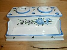 Sweet Vintage Ceramic double inkwell with 2 ink pot inserts painted blue flowers
