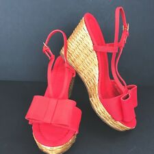 Kate Spade Size 6.5 Red Grosgrain Cabos Wicker Rattan Platform Wedge Sandals Bow