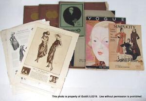 8 VINTAGE FASHION MAGAZINES Vogue, Simplicity, Les Parisiennes