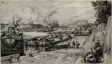 AUGUSTE LEPERE (1849-1918) Signed Etching ENTRANCE TO THE CANAL ST. MARTIN - a/f