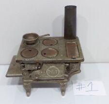 Antique 1900s PET Cast Iron Toy Stove Salesman Sample Range Oven ORIGINAL #1