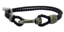 David Yurman Anchor Wrap Bracelet Black Leather/Sterling Silver Size Medium NWT