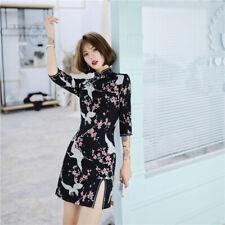 New Oriental Cranes Black Short Dress Cheongsam Chinese Qipao lcdress129