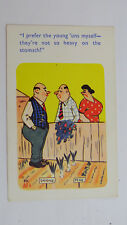 1950s Vintage Risque Comic Postcard Vegetable Garden Grower Allotment Big Boobs