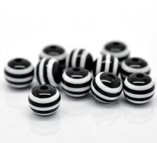 50 x BLACK & WHITE STRIPE RESIN BEADS - 10mm - SAME DAY POSTAGE