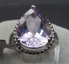 7.45 cts Genuine Rose De France Amethyst Solitaire Size 7 Ring Sterling Silver