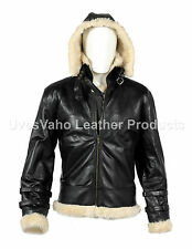 Men Bomber WWII Cream Faux Fur Sheep Leather Flying Jacket Removable Hood UK