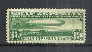 U.S. SCOTT C13 MH VF - 1930 65c DK GREEN  ZEPPELIN AIR MAIL ISSUE   CV $180.00