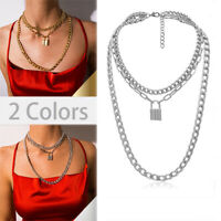 Stainless Steel  Chain Key Lock Pendant Collar Punk Choker Chain Necklace