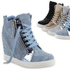Damen Sneakers Keilabsatz Sneaker-Wedges Lack Glitzer Schuhe 814273 Trendy
