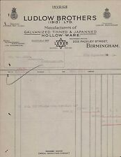 Birmingham. 1931. Ludlow Brothers. 202 Fazeley Street. 'Hollow-ware'  ZT42
