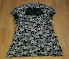 beauitiful black beige floral MOA MODA party evening casual top size 16