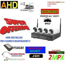 KIT WIRELESS VIDEOSORVEGLIANZA AHD 2MP DVR FULL HD 4 TELECAMERE+HARD DISK 750GB