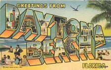1949 Large letters multi View Daytona Beach Florida linen Teich postcard 9334