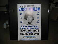 Barry Manilow - Concert Poster Chicago,Il 1976 Awesome Shape!