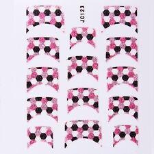 Nail Art Decal Stickers Glitter Nail Tips Pink & Black Dots JC123