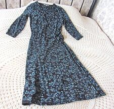 Stretch wrap around dress by LAURA ASHLEY Size 6 - 8  Black with blue floral