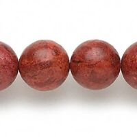 1 Strand Red Sponge Coral Dyed 16mm Round Beads *