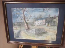 Contemporary Watercolour Painting House on a hill Yorkshire Derbyshire signed
