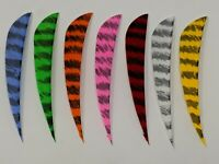"Archery Past 4"" Parabolic Barred Feathers - 12 Pack, RW or LW"