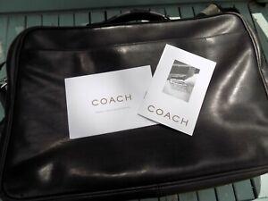 COACH BLACK LEATHER BUSINESS TRAVEL LAPTOP BAG UNISEX