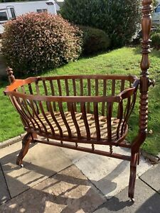 Beautiful Antique Wooden Swinging Crib Cot. For Baby/Display/ Dolls/Bears