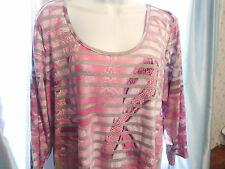 Live & Let Live Top Size 1X $54 Cancer Awarness Heather Gray Beaded Ribbon
