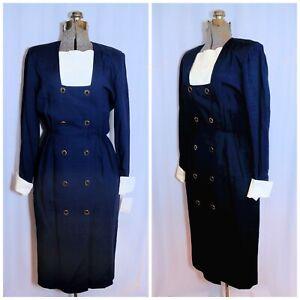 VTG 80's Carlisle Navy Blue Midi Secretary Dress XS Rayon Linen w/Tags Modest