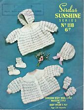 Sirdar Sunshine 118 Vtg Baby Knitting Pattern 3 ply 3/6 months pram set