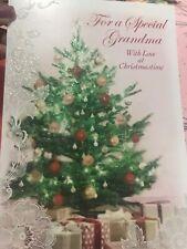 Unused Christmas Card American Greetings W/Envelope Glitter Grandma Tree Lace